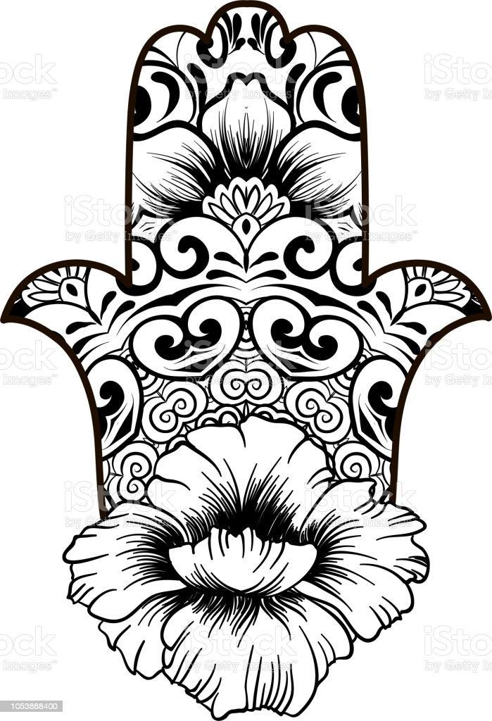 Ilustración de Página Para Colorear Con Hamsa Con Patrón étnico ...