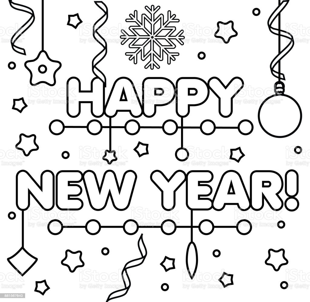 picture about Printable New Year Cards named Coloring Website page With Content Fresh 12 months Words Drawing Youngsters Recreation