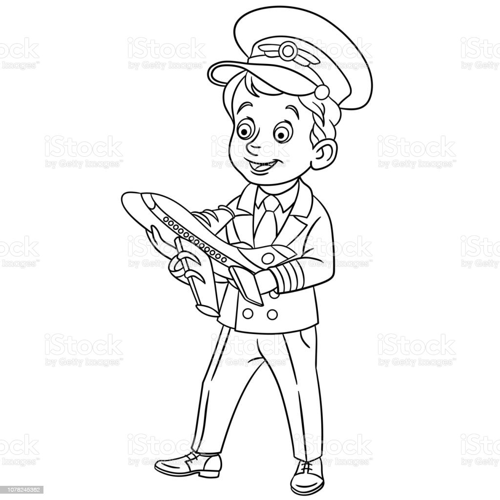 Coloring Page With Happy Pilot With Little Model Of Airplane Stock Illustration Download Image Now Istock