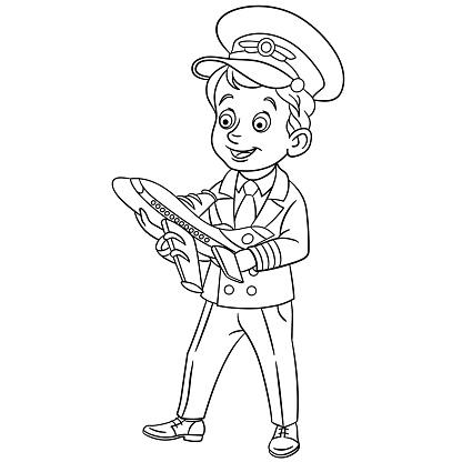 pagina met gelukkig piloot met weinig model vliegtuig
