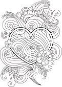 Coloring page with heart and abstract element isolated. Happy Valentines