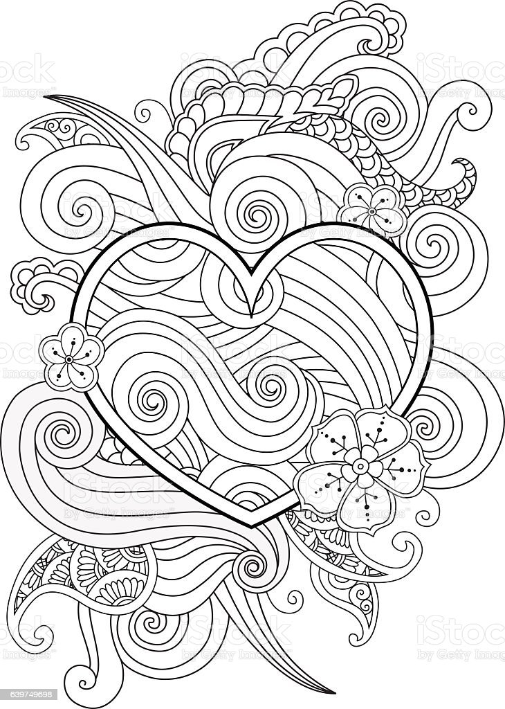 Coloring page with heart and abstract element isolated. Happy Valentines vector art illustration
