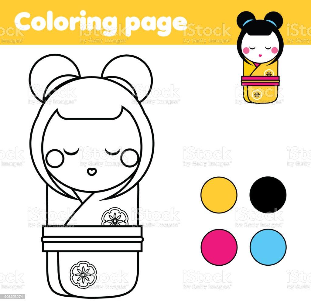 Página Para Colorear De La Muñeca Japonesa Kokeshi Dibujo Juego De ...