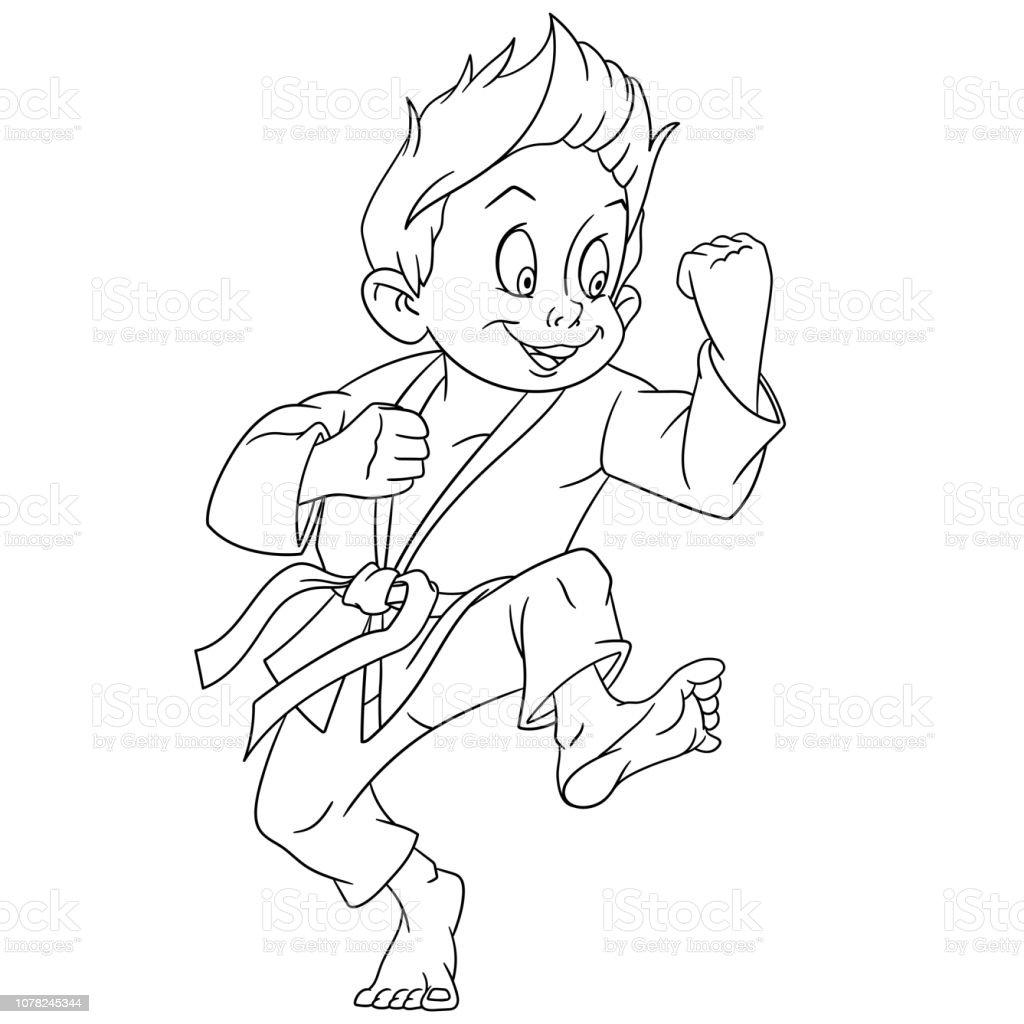 Ilustración De Página Para Colorear Con El Chico De Karate Y Más Vectores Libres De Derechos De Adulto