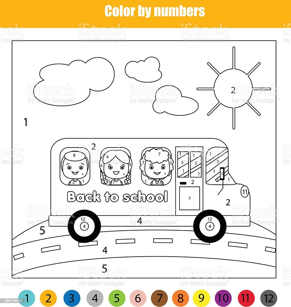coloring page with kids in school bus color by numbers お絵かきの