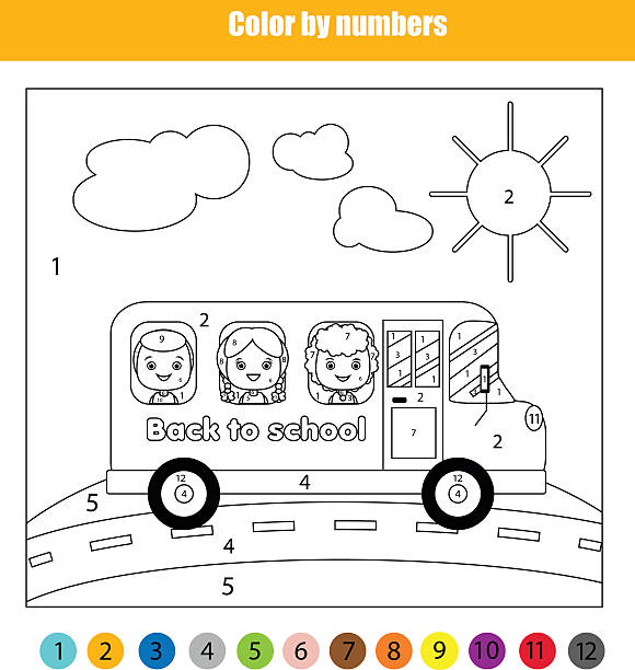 Coloring page with kids in school bus. Color by numbers Coloring page with kids traveling in school bus. Color by numbers children educational game. back to school theme coloring book pages templates stock illustrations
