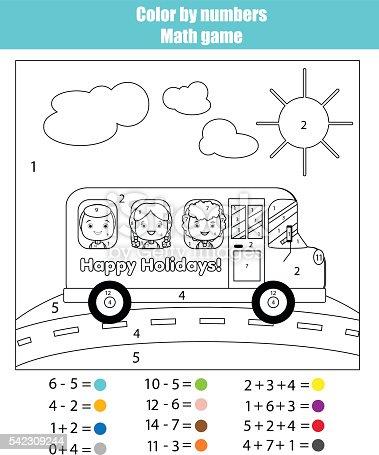 Ilustración de Página Para Colorear Con Los Niños En La Escuela ...