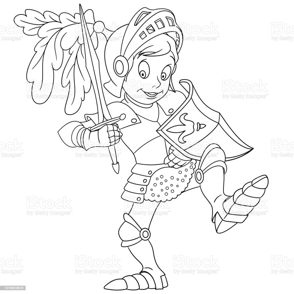 Coloring Page With Knight Stock Illustration Download Image Now Istock