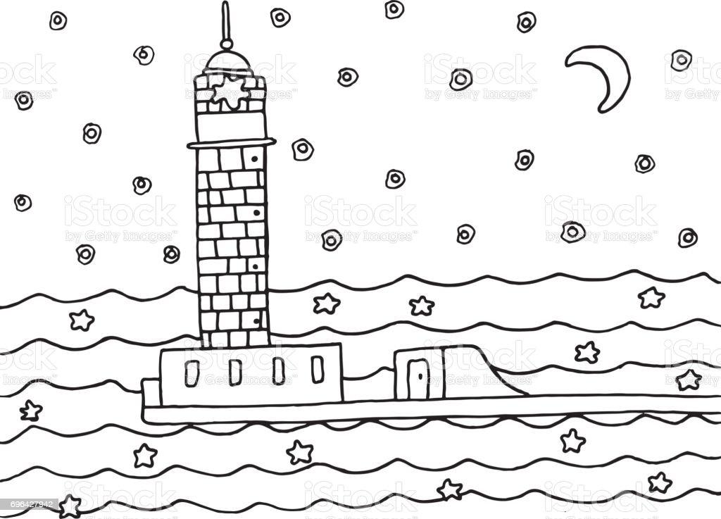 Gece Deniz Feneri Ile Boyama Sayfası Siyah Ve Beyaz Elle çizilmiş