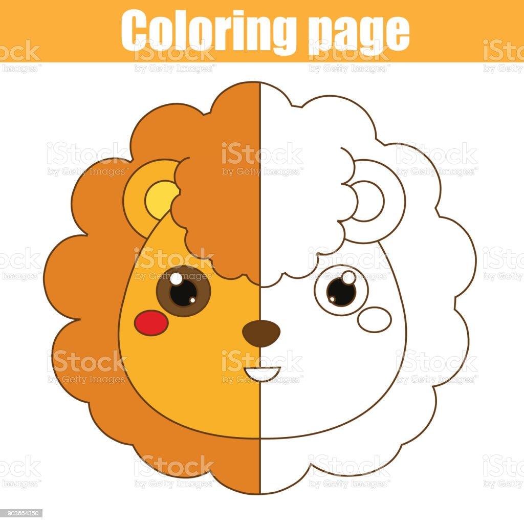Malvorlagen Mit Löwen Zeichnungkinderspiel Druckbare Aktivität Stock