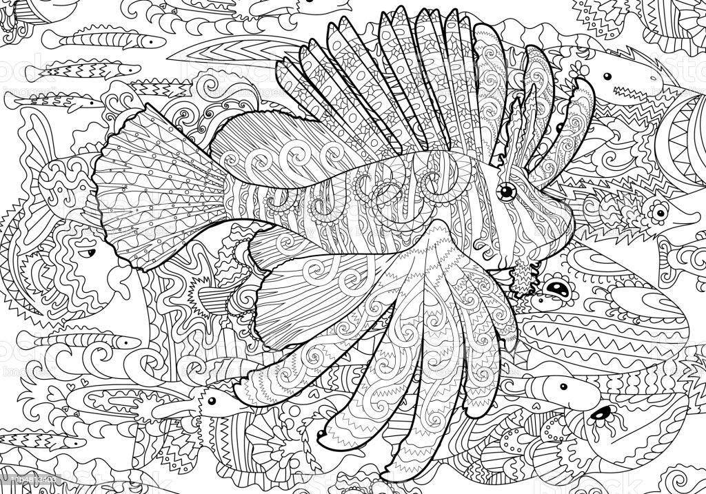 Desenli Tarzi Aslan Balik Ile Boyama Sayfasi Stok Vektor Sanati