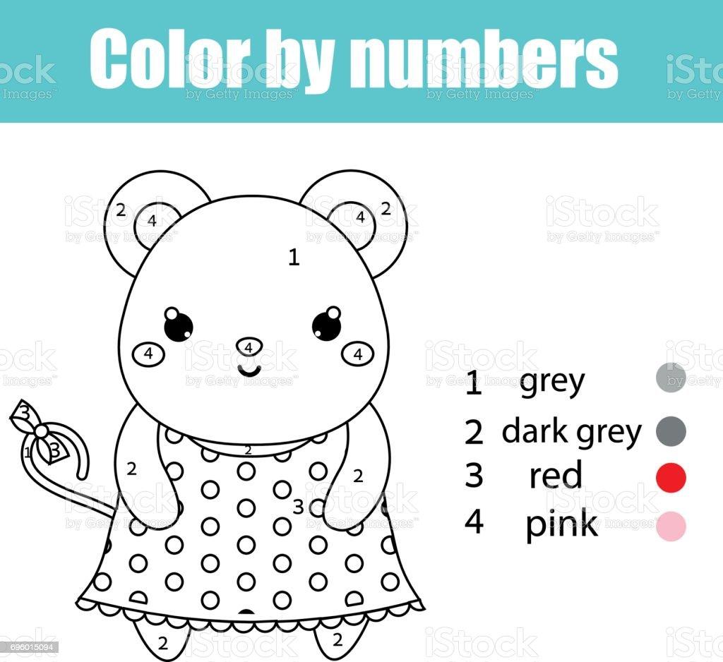 Fare Karakteri Ile Boyama Sayfasi Renk Numaralarini Egitim Cocuk