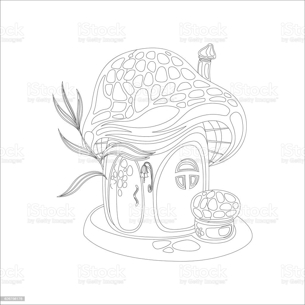 Coloring Page With Mushroom House Royalty Free Stock Vector Art