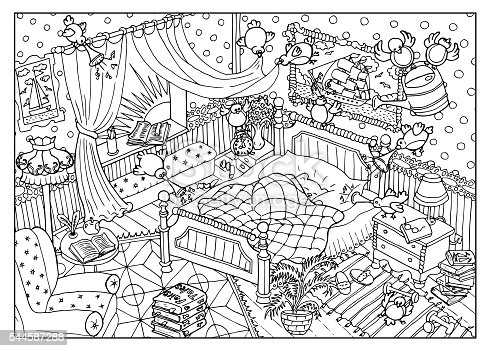 Coloring Page With Naughty Birds And Sleeping Bear Stock