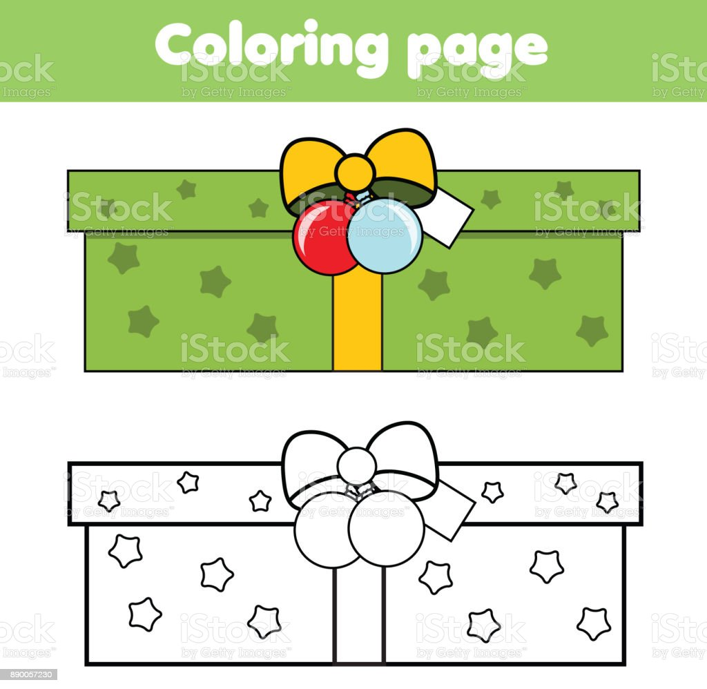 Coloring Page With New Year Gift Box Drawing Kids Game Printable ...