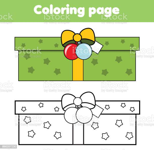 Coloring Page With New Year Gift Box Drawing Kids Game Printable Activity Christmas Theme Stock Illustration Download Image Now Istock