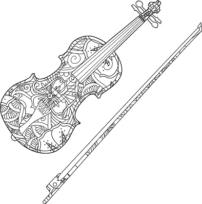 Coloring Page With Ornamental Violin And Fiddlestick ...