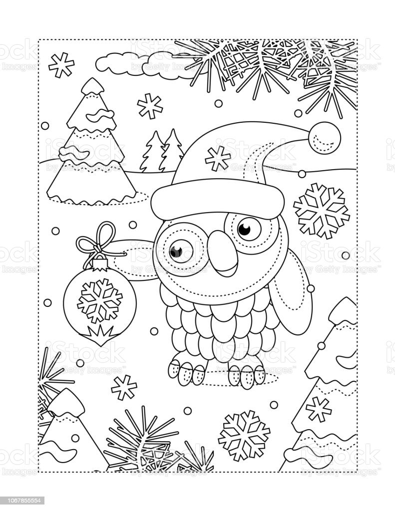 Coloring Page With Owl And Christmas Tree Ornament Stock Vector Art