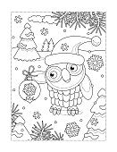 Coloring page with owl and christmas tree ornament