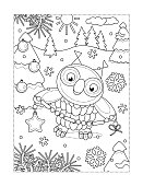 Coloring page with owl decorating christmas tree