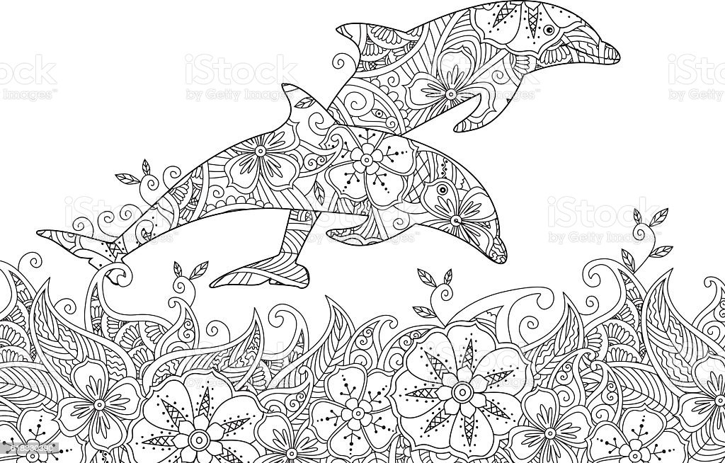 Coloring page with pair of jumping dolphins in the sea. vector art illustration