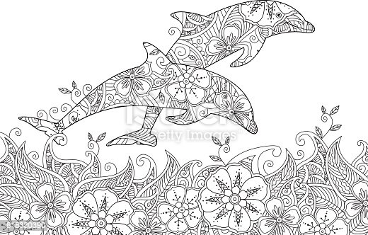Coloring Page With Pair Of Jumping Dolphins In The Sea