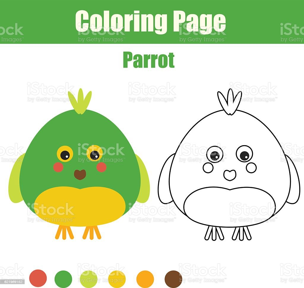 Coloring Page With Parrot Educational Children Game Printable ...