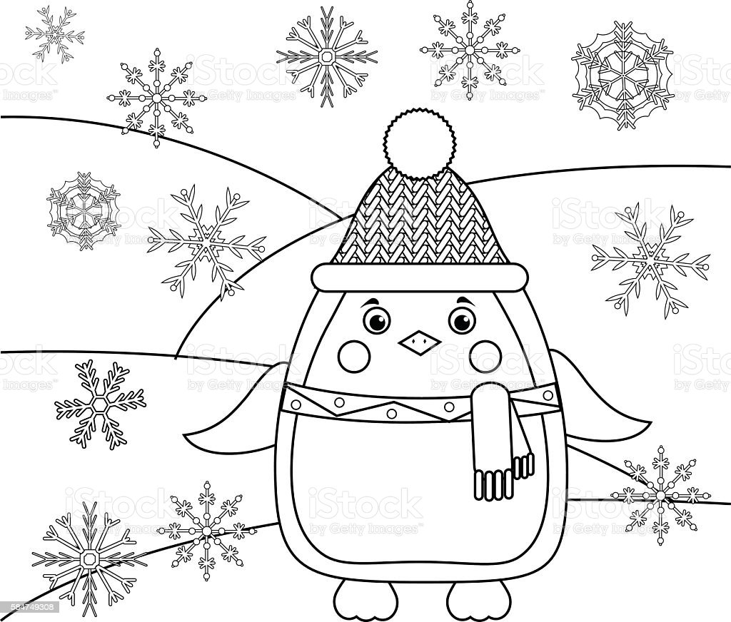 Coloring page with penguin and snowflakes. Educational game, drawing kids vector art illustration