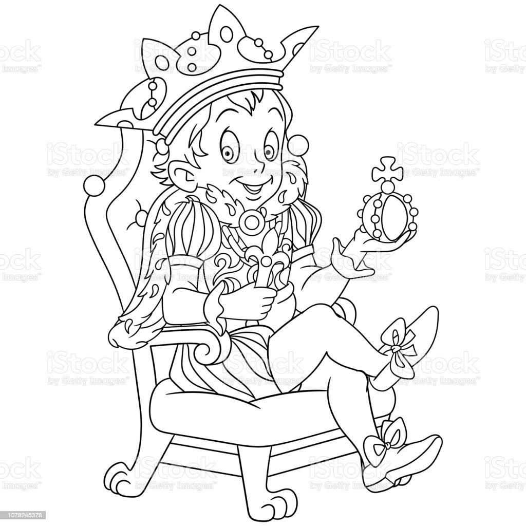 Ilustración De Página Para Colorear Con Príncipe O Rey Y Más