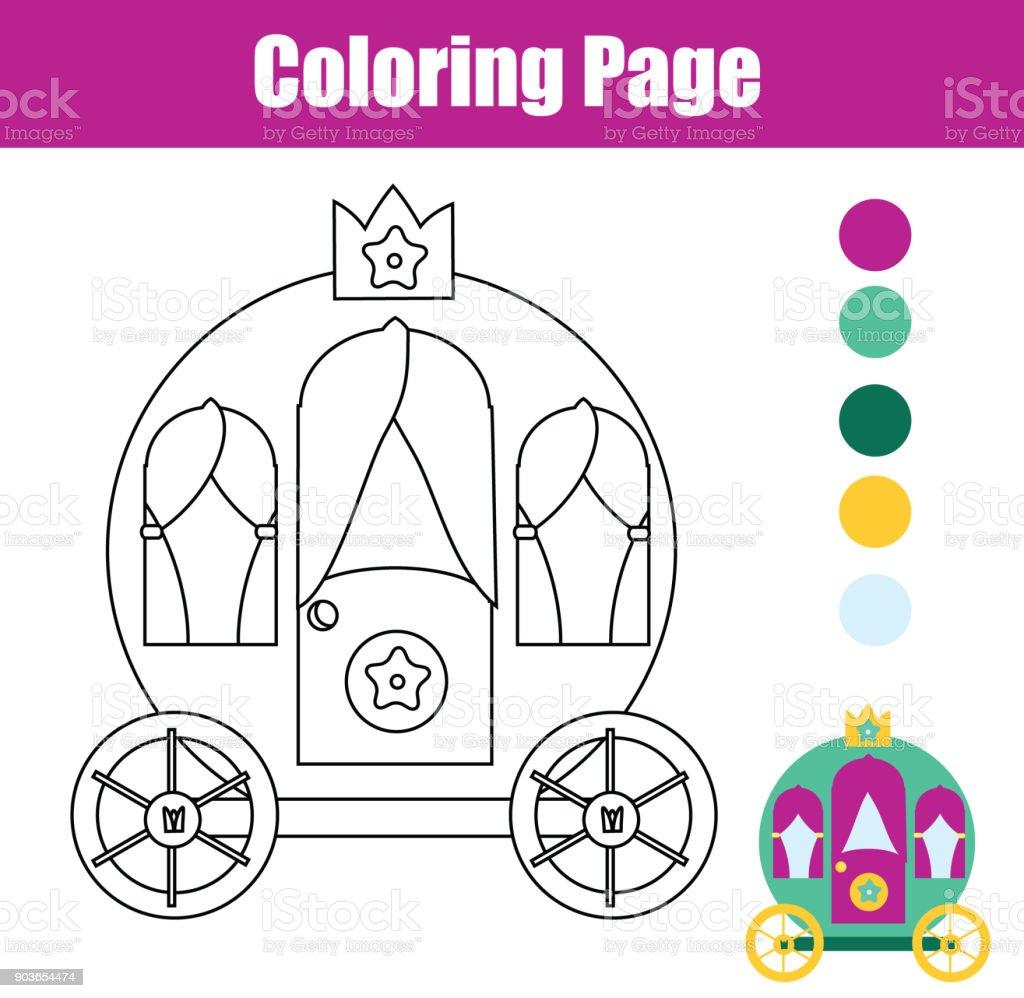 Página Para Colorear Con Carruaje De Princesa Dibujo Juego De Niños ...