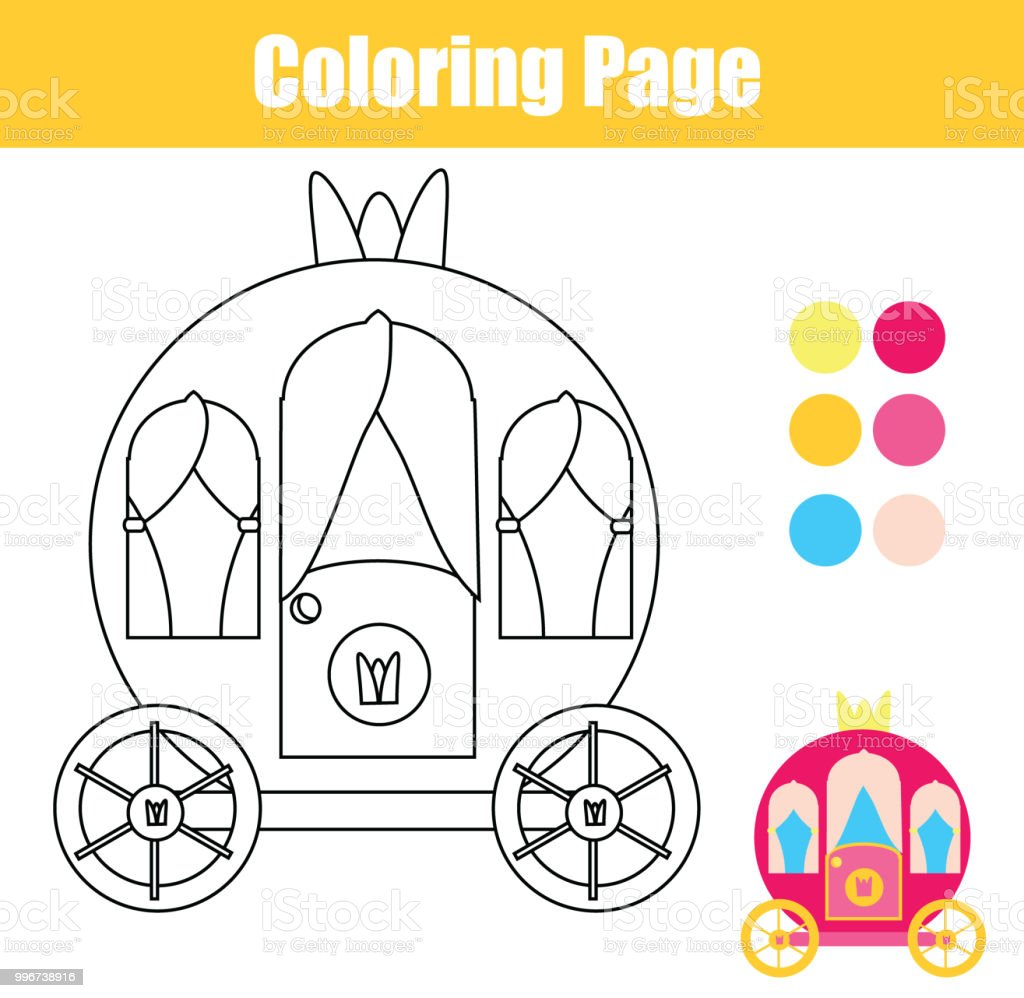 Coloring Page With Princess Carriage Drawing Kids Game Printable Activity Royalty Free