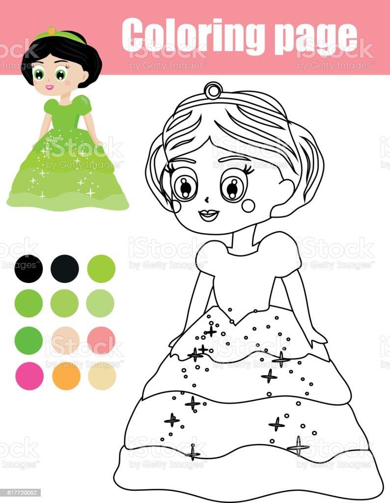 Prenses Karakteri Ile Boyama Sayfası Kids Hareket çizim Sayı Eğitim