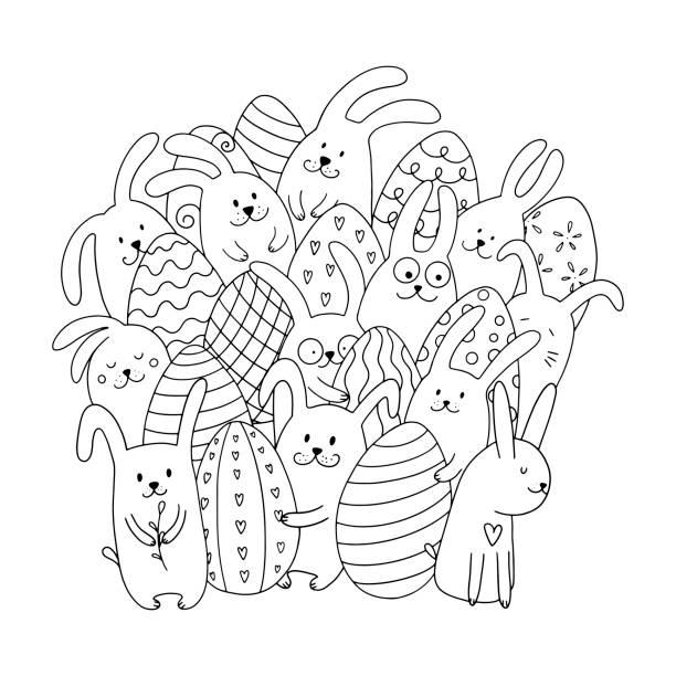 ウサギと卵のカラーリングページ。 - お絵かき点のイラスト素材/クリップアート素材/マンガ素材/アイコン素材