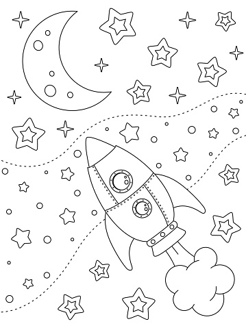 Coloring page with rocket, moon, nebulae and stars for kids