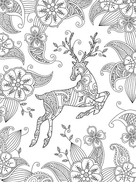 Coloring page with running deer and floral background. Vertical composition. vector art illustration