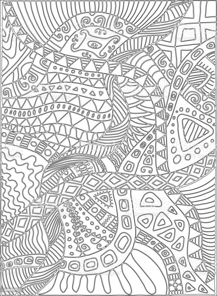 Karalamalar Bitkiler Desen Ile Boyama Sayfası Stok Vektör Sanatı