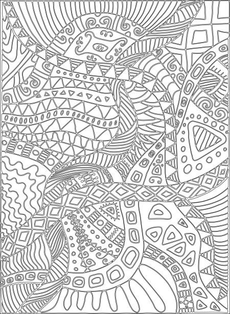 Coloring page with scribbles, plants, pattern. vector art illustration