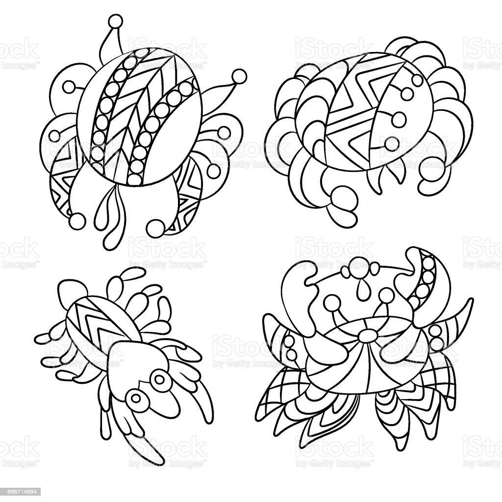 Ilustración de Página Con Mar Y Océano Suh Animales Como Cangrejos Y ...