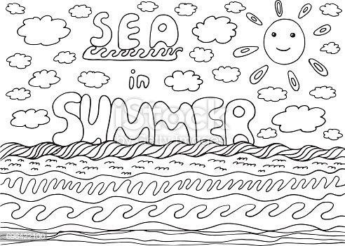 Ilustración De Página Para Colorear Con Las Palabras Mar Y Verano