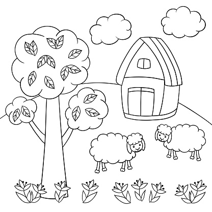 Coloring page with sheep, tree and house