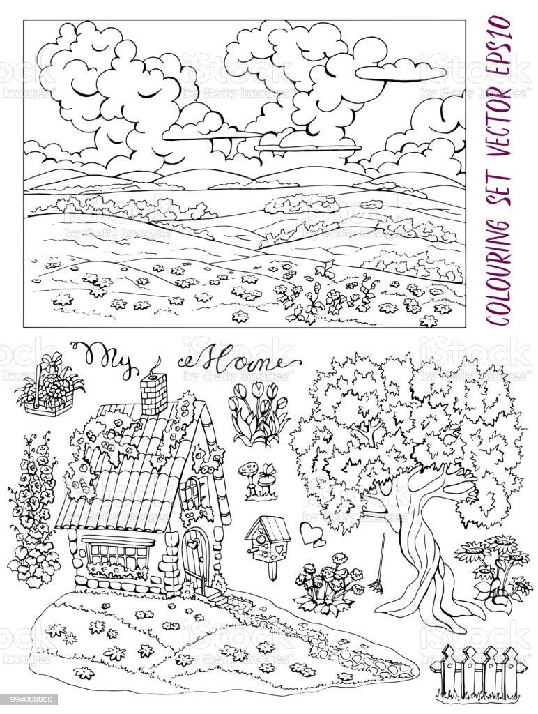 Coloring Page With Small Country Cottage Tree Flowers Landscape And Bird House Royalty
