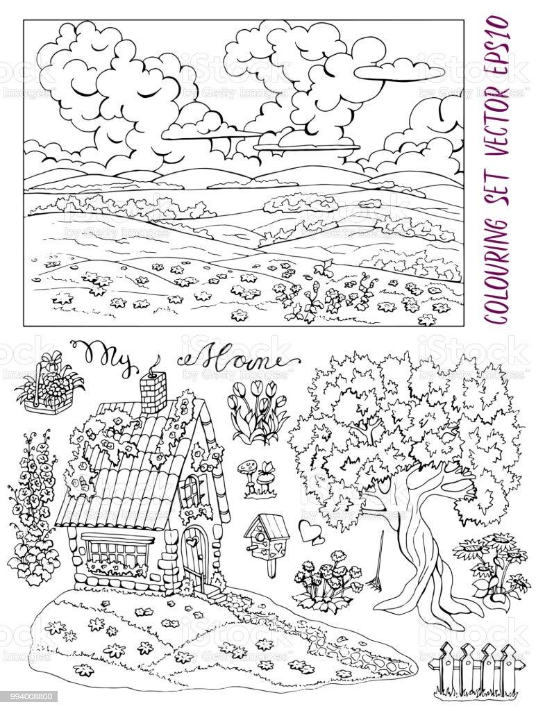Ilustración De Página Con Pequeña Masía Casa De Campo árboles Flores Paisaje Y Aves Para Colorear Y Más Vectores Libres De Derechos De Aire Libre