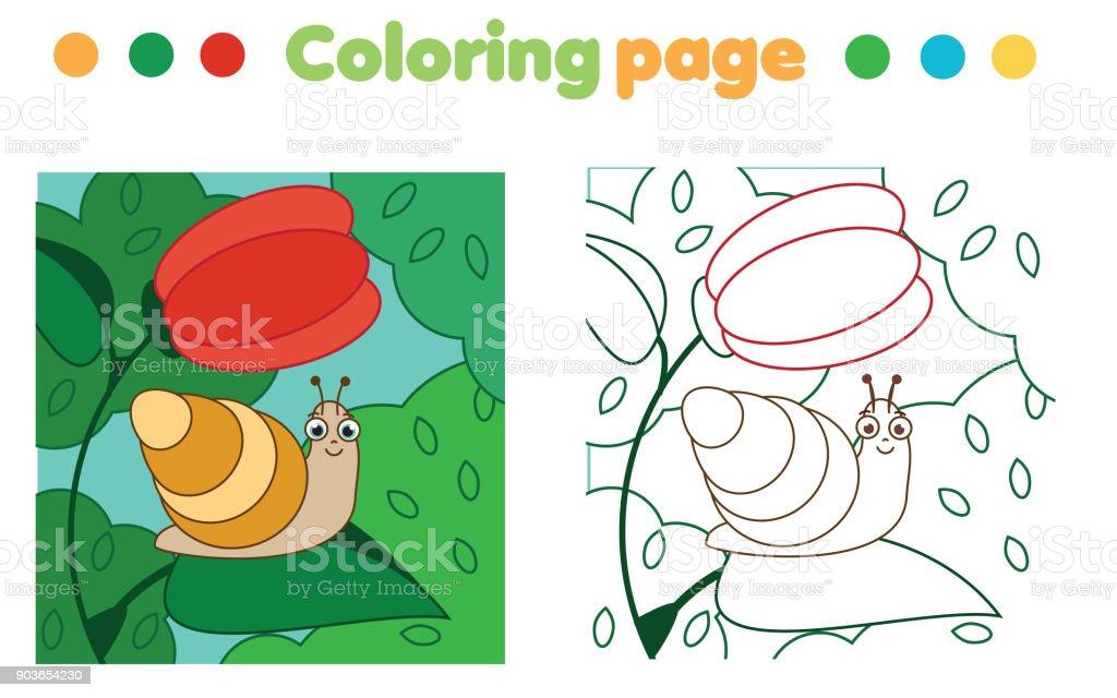 Ilustración de Página Para Colorear Con Caracol En Flor Dibujo Juego ...