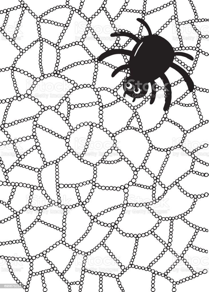 Ilustración De Página Para Colorear Con Araña Y Web Y Más Vectores