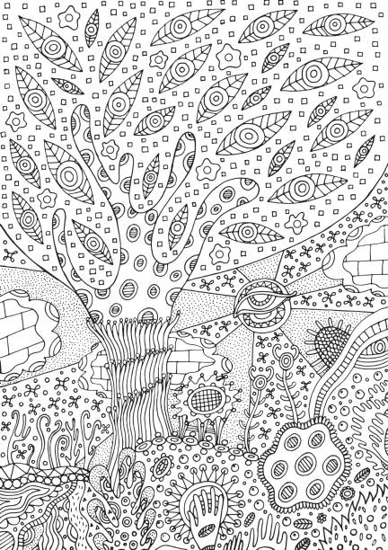 Coloring page with surreal landscape - tree, flower and sky. Vector illustration for adults or kids. Zendoodle vector art. Doodle cartoon fairy tales graphic art. vector art illustration