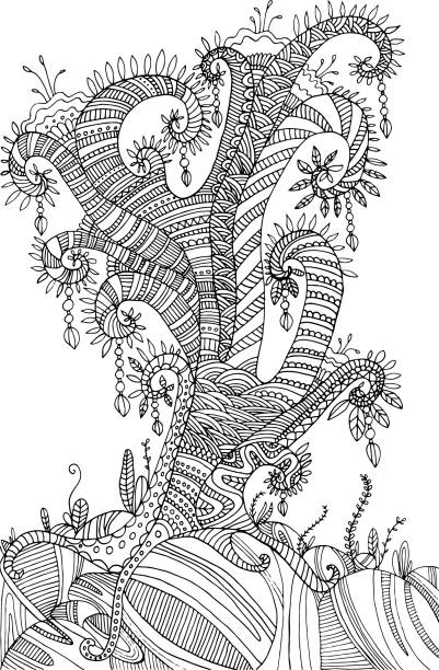 Coloring Page With Surreal Landscape Tree Vector Art Illustration