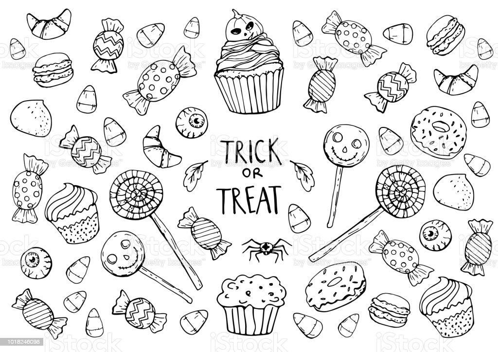 Coloriage Avec Des Bonbons Halloween Vecteurs Libres De