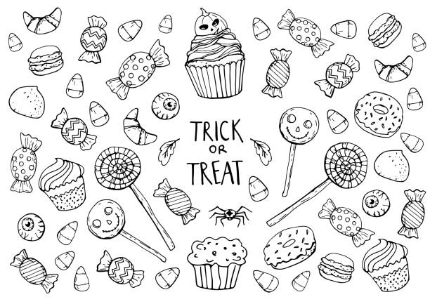coloring page with sweets, halloween - halloween candy stock illustrations