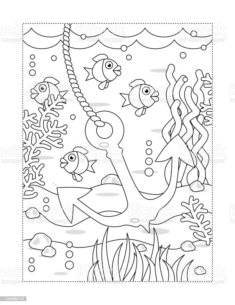 Coloring Page With Underwater Scene And Anchor Stock Illustration Download Image Now Istock