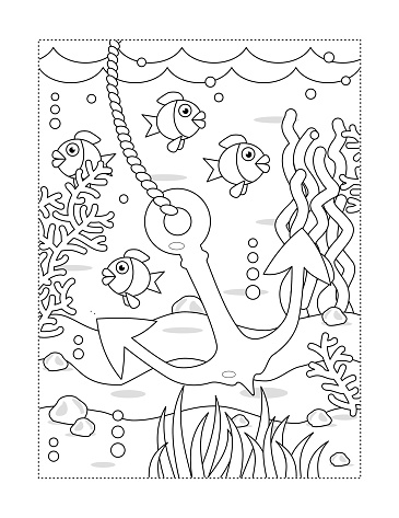 Coloring page with underwater scene and anchor